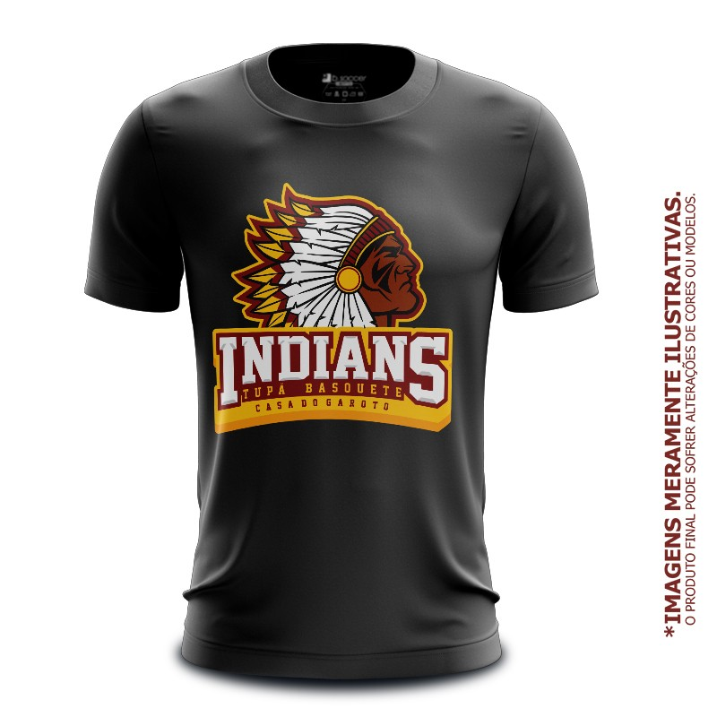 Camiseta Casual Tupã Indians Basquete Preta