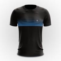 Camiseta Masculina Básica - Pretas Com Listras em Azul